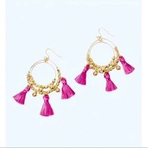 Lily Pulitzer Gold Hoop Pink Tassel Earrings